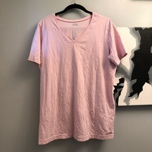 Only Necessities v-neck pink cotton tee Large EUC